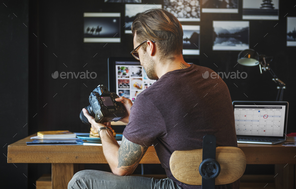 Photographer Working Checking Photo Concept - Stock Photo - Images