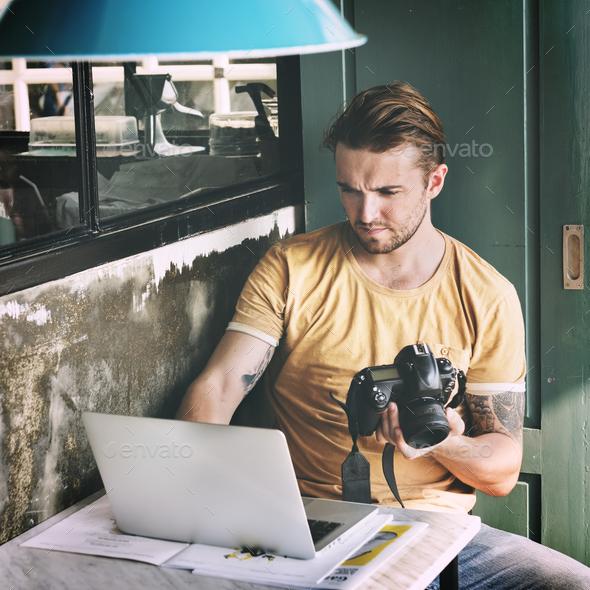 Man Camera Photographer Laptop Photography Concept - Stock Photo - Images