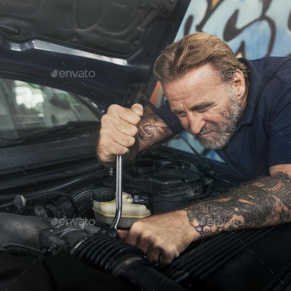 Garage Motor Maintenance Mechanic Fixing Spare Concept - Stock Photo - Images
