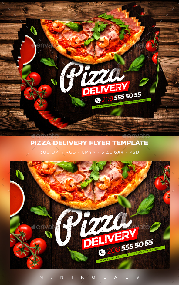 pizza delivery flyer by maksn