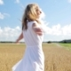 Smiling Young Woman In White Dress On Cereal Field 11 - VideoHive Item for Sale