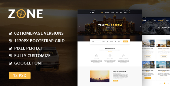 Zone – Tours and Travel PSD Template