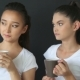 Two Beautiful Women Are Drinking Hot Coffee In The Studio - VideoHive Item for Sale