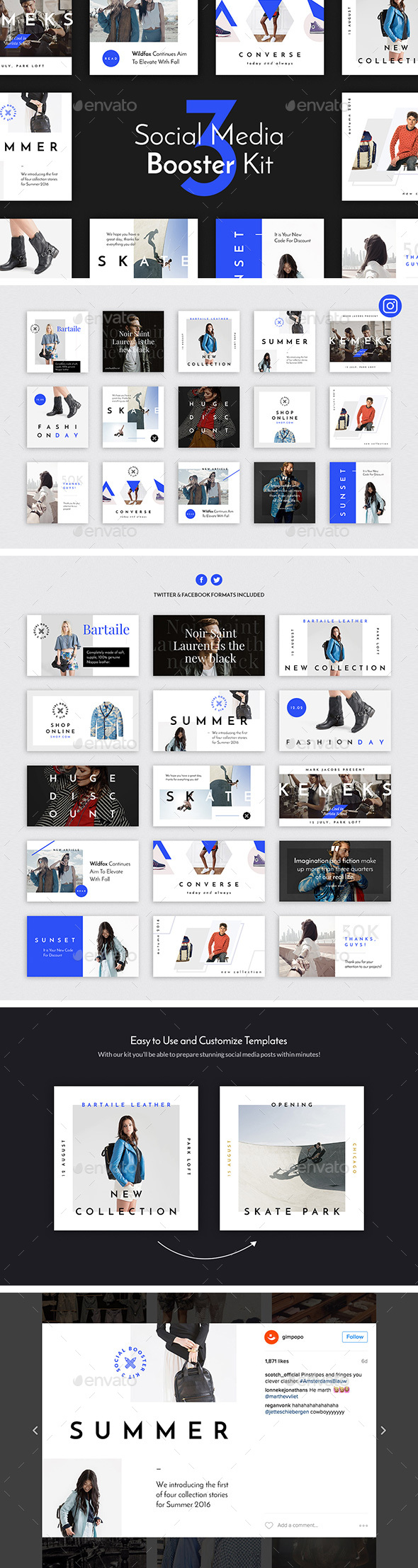 Social Media Booster Kit 3 Instagram Twitter Facebook Templates