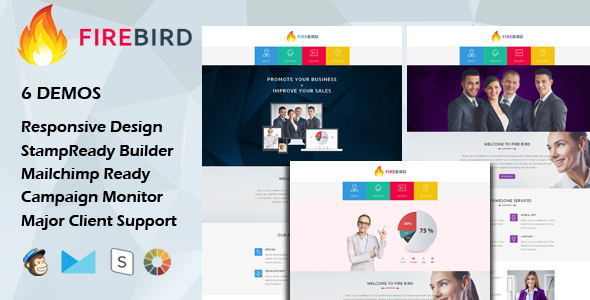 FIRE BIRD - Multipurpose Responsive Email Template + Stamp Ready Builder