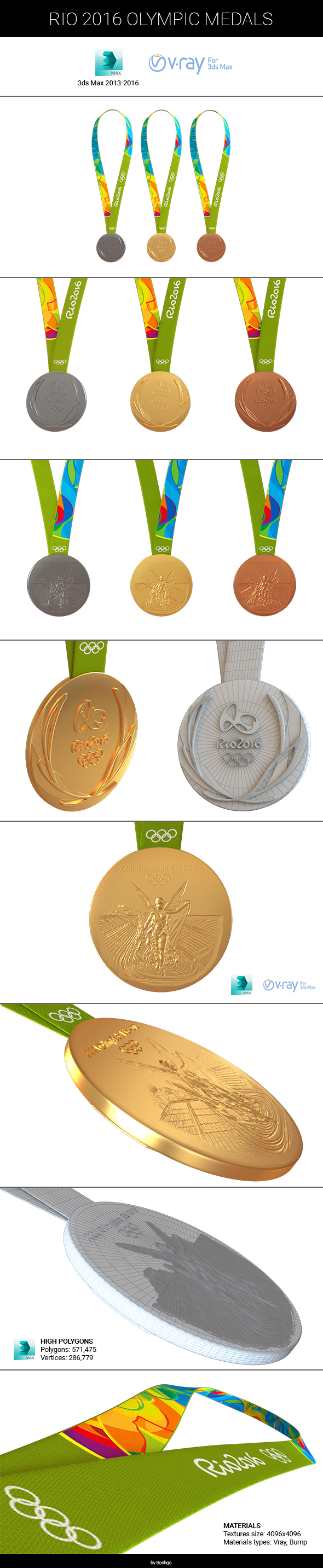 Rio 2016 Medals - 3DOcean Item for Sale