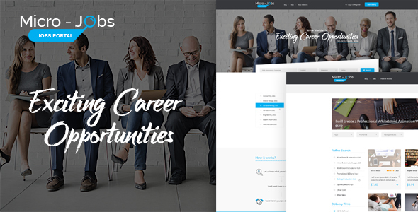 Micro Jobs - Jobs Portal PSD Template - Business Corporate