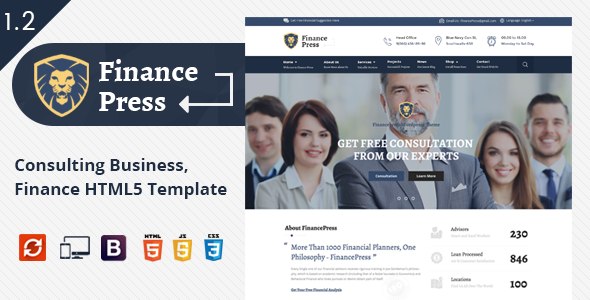 Finance Press - Consulting Business, Finance HTML5 Template