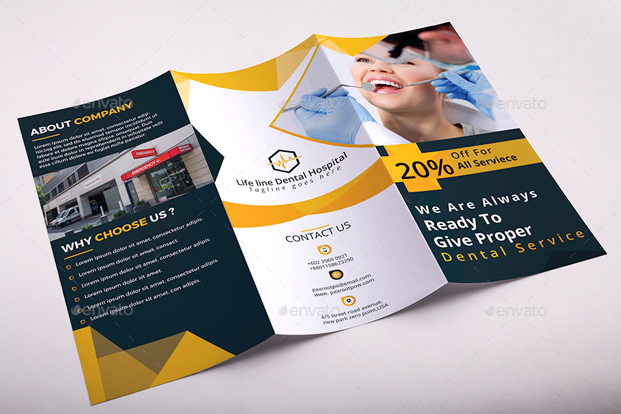 Hospital Trifold Brochure Template By AncientEgo  Graphicriver