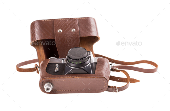 Old metal photo camera in leather case. - Stock Photo - Images