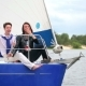 The Couple Are Sailing On The Yacht - VideoHive Item for Sale