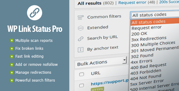 WP Link Status Pro - Fix Broken Links & Manage Redirections - CodeCanyon Item for Sale