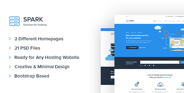 Spark – Hosting and Technology PSD Template - Technology PSD Templates