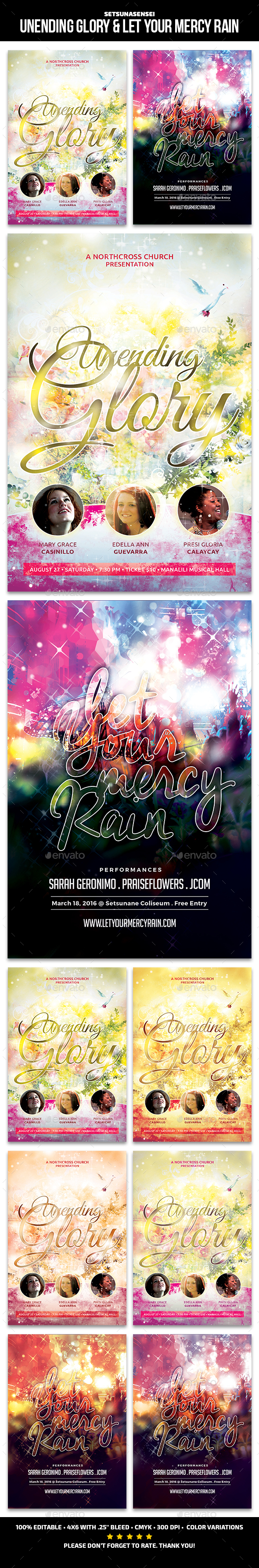 Unending Glory and Let Your Mercy Rain Church Flyers - Commerce Flyers