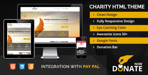 Fundraising - HTML template for charity and donation websites - Charity Nonprofit