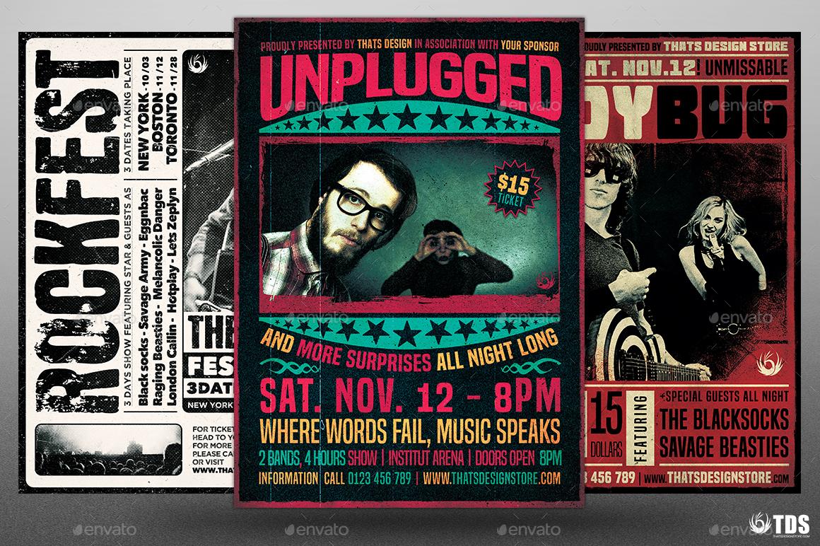 Live Band Flyer Bundle V4 by lou606 | GraphicRiver