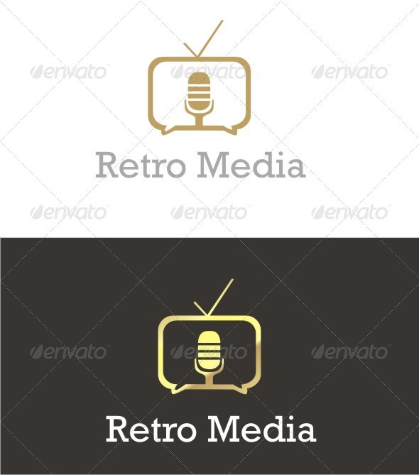 Retro Online Broadcast Logo - Objects Logo Templates