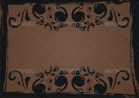 Black grunge frame with floral elements - Backgrounds Decorative