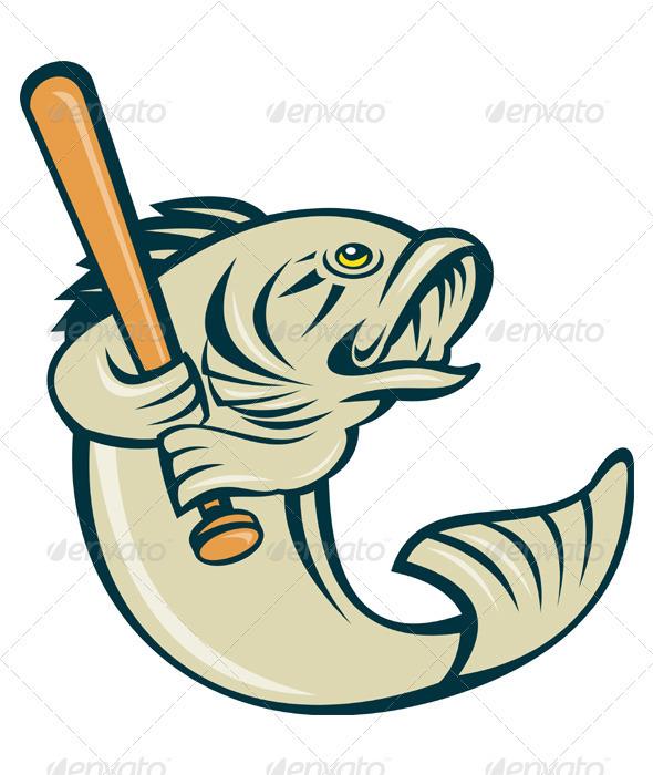 Cartoon Largemouth Bass Fish Baseball - Animals Characters