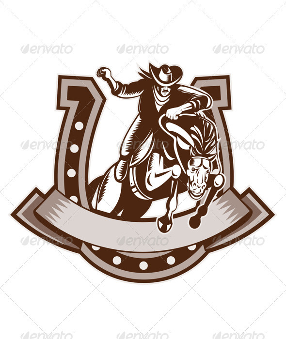 American Rodeo Cowboy Riding Horse - People Characters