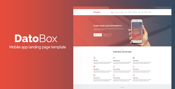 DatoBox || Mobile App Landing Page Template
