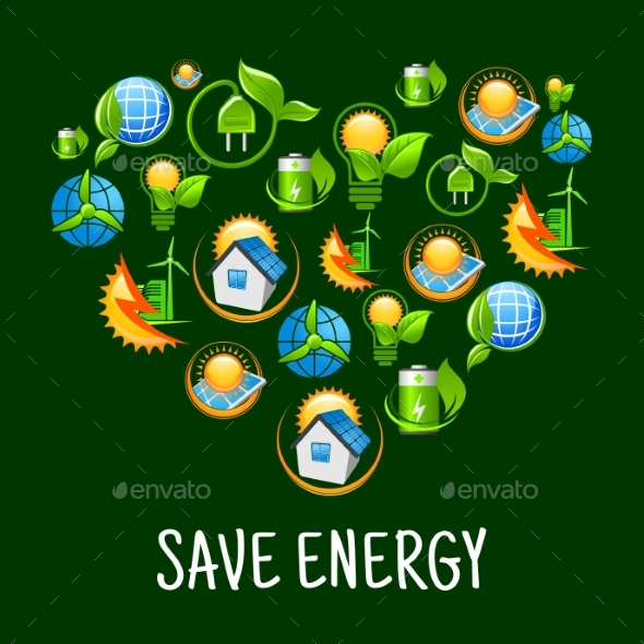 Eco Heart With Icons Of Save Energy Green Power By
