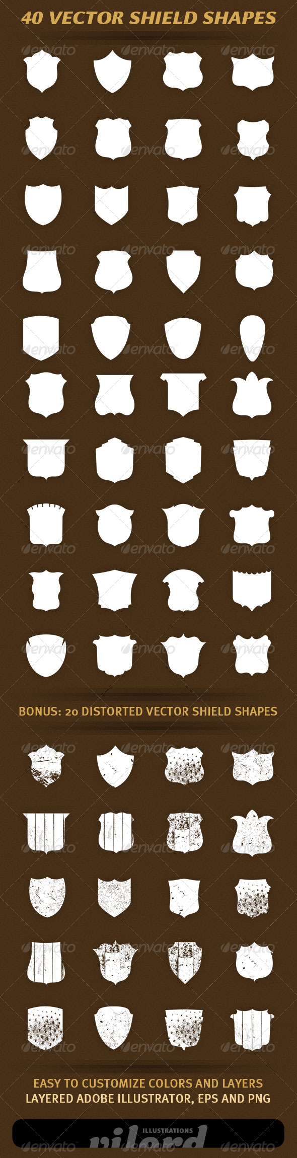 40 Vector Shield Shapes - Decorative Symbols Decorative