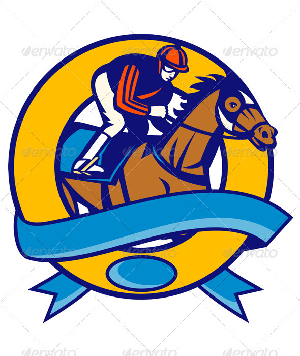 Jockey And Horse Racing Side - Animals Characters