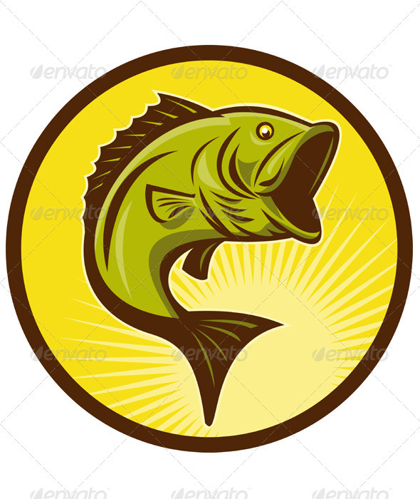 Largemouth Bass Fish Retro - Animals Characters