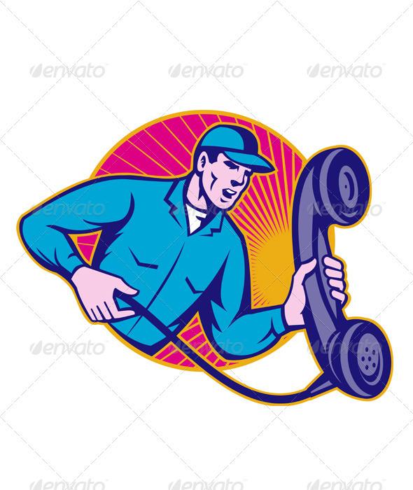 Telephone Repairman Worker Holding Retro Phone - People Characters
