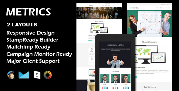 METRICS - Multipurpose Responsive Email Template + Stamp Ready Builder