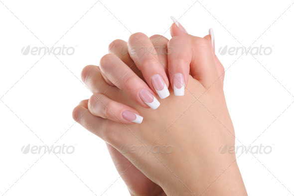 Women hands  with beauty french manicure - Stock Photo - Images