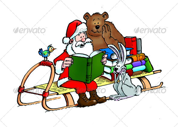 Santa Claus with animals and with books - Characters Illustrations