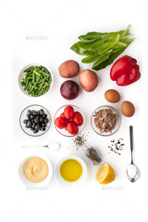 Ingredients for Nicoise salad on the white background - Stock Photo - Images