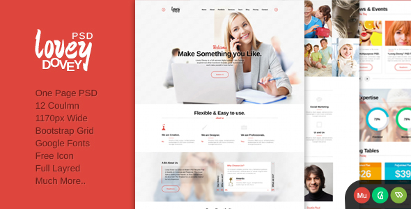 Lovey Dovey One Page PSD Template