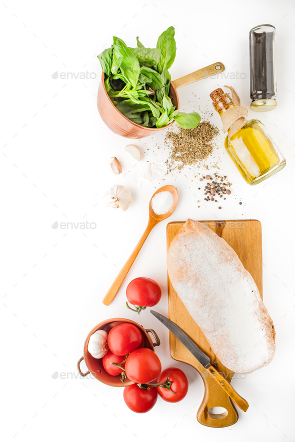 Ingredients for  bruschetta on the white background vertical - Stock Photo - Images
