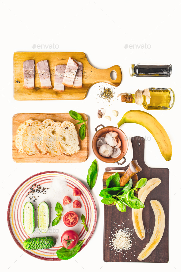 Ingredients for tartines on the white background vertical - Stock Photo - Images
