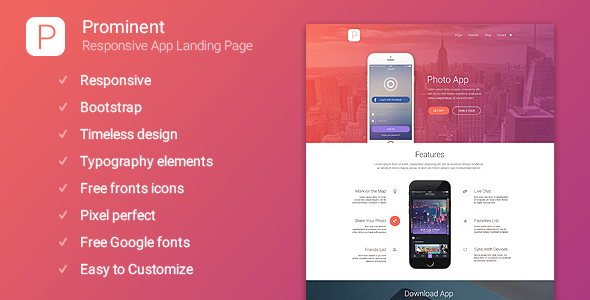 Prominent – Responsive App Landing Page