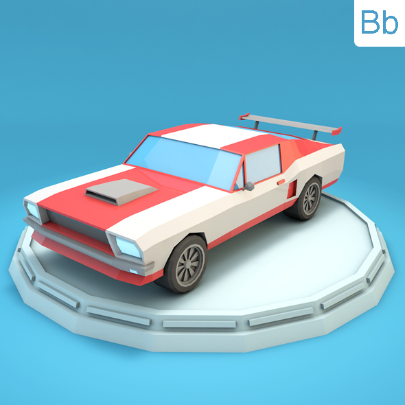 Low Poly Mustang Car - 3DOcean Item for Sale