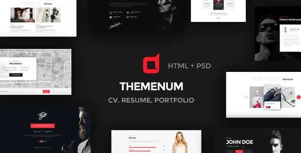 Themenum – Personal Vcard Resume & Cv HTML Template