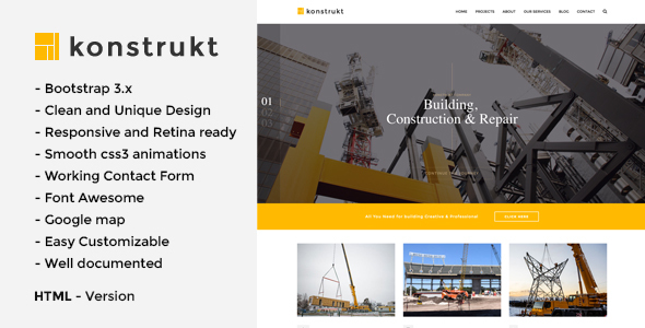Konstrukt - HTML5 Construction & Building Template - Business Corporate