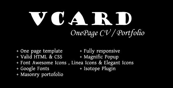 Vcard - Onepage Responsive CV / Portfolio Templatee