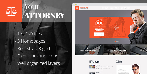 Attorneys - law firm/private lawyer PSD template - Business Corporate