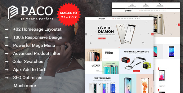 Paco – Responsive Multi-Purpose Magento 2.1.0 Theme