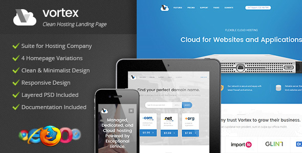 Vortex – Clean Hosting Landing Page