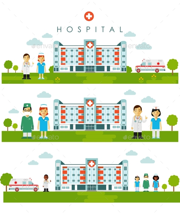 Medical Backgrounds with Hospital Building and Doctors - Health/Medicine Conceptual