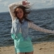 The Girl With The Curly Hair Dancing On The Summer Beach - VideoHive Item for Sale