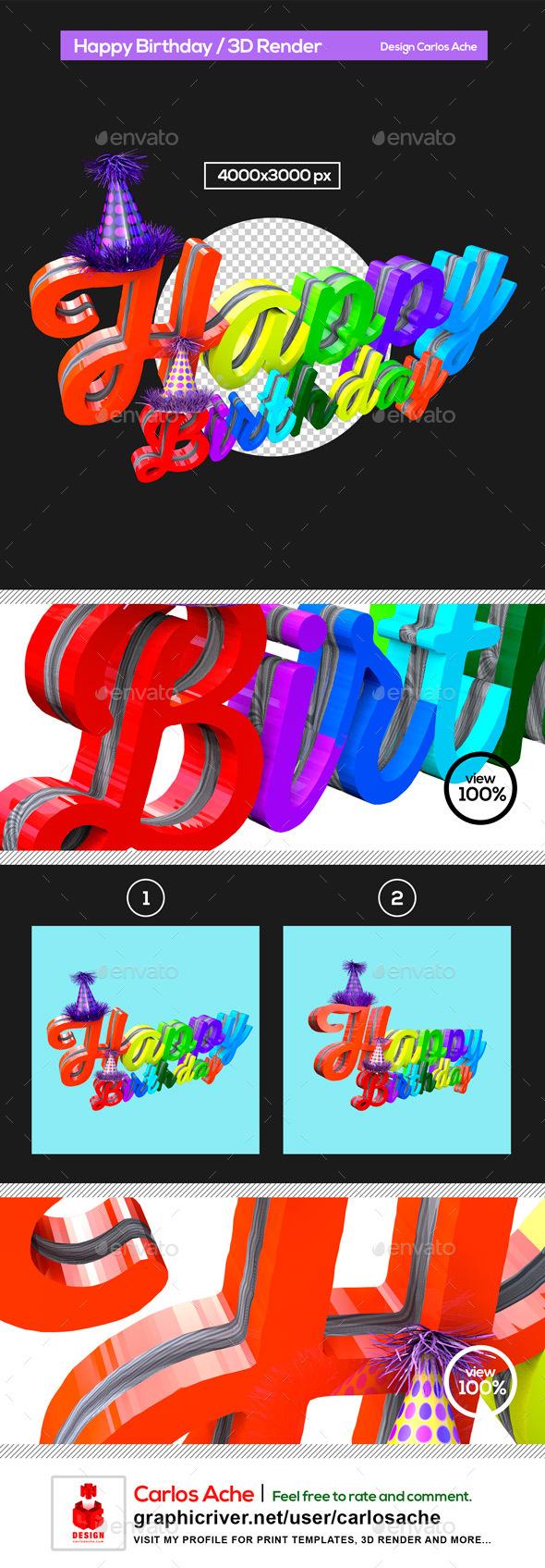 Happy Birthday 3D Render - Text 3D Renders