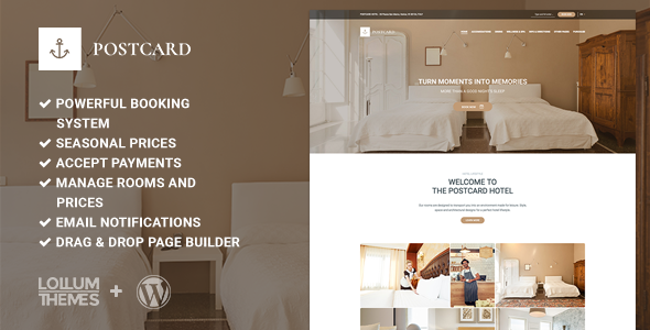 Postcard – Modern Hotel WordPress Theme