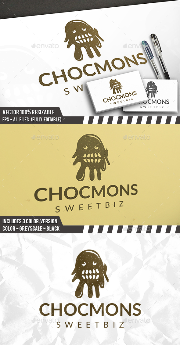 chocolate monster logo by bosstwinsart graphicriver